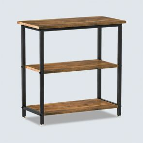Small Side Table with 2 Wood Shelves Rustic Brown