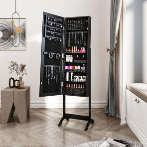 standing jewelry armoire in the bedroom
