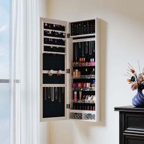 wall jewelry cabinet in the bedroom