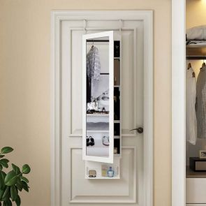 white mirror jewelry cabinet in the bedroom
