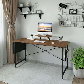 wood computer desk in the home