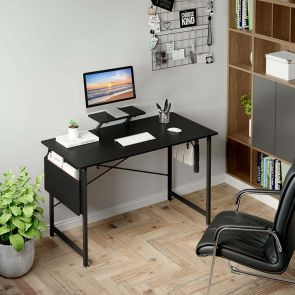 wooden computer desk in the office