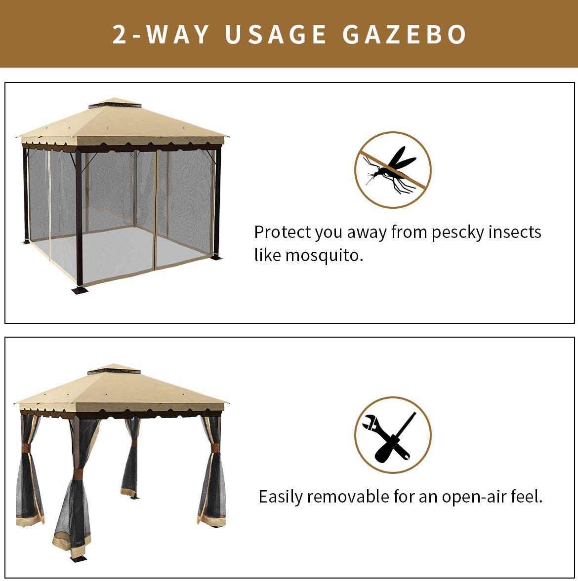 2-way usage 10x10 soft top gazebo