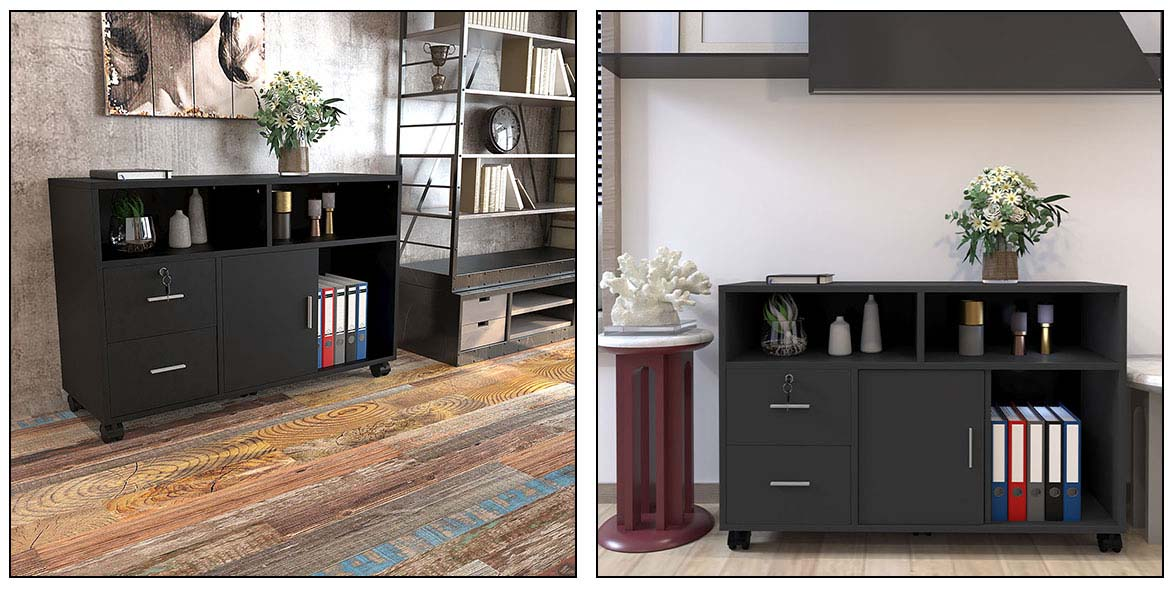 black wood file cabinet in the living room