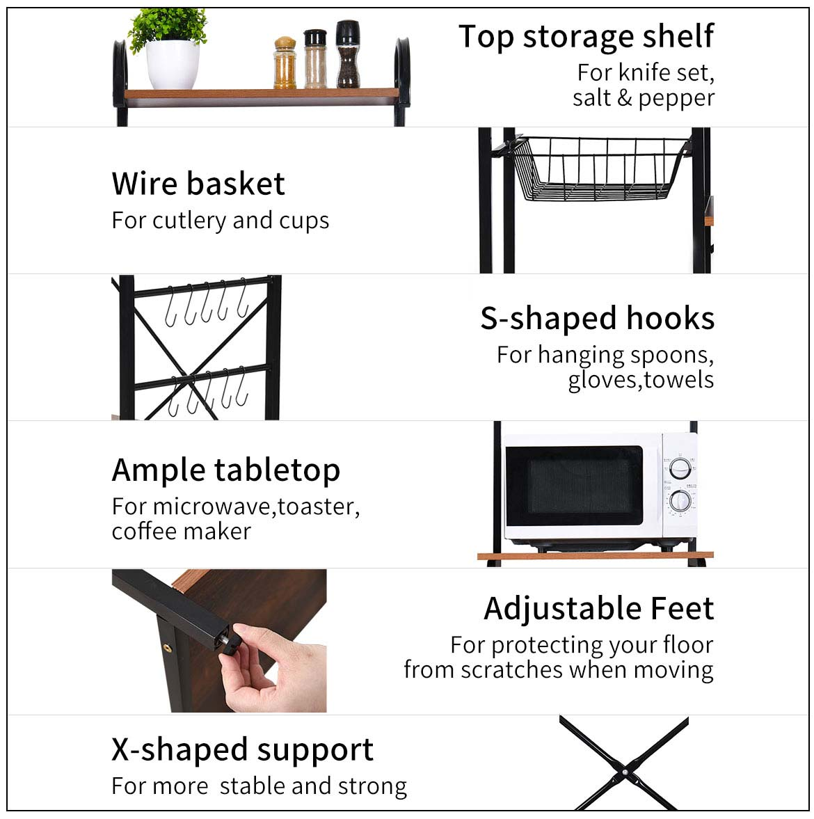 baker rack for kitchen features