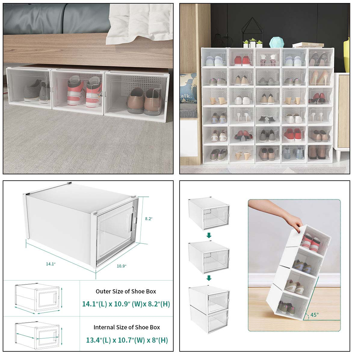 use and size of clear plastic shoe boxes