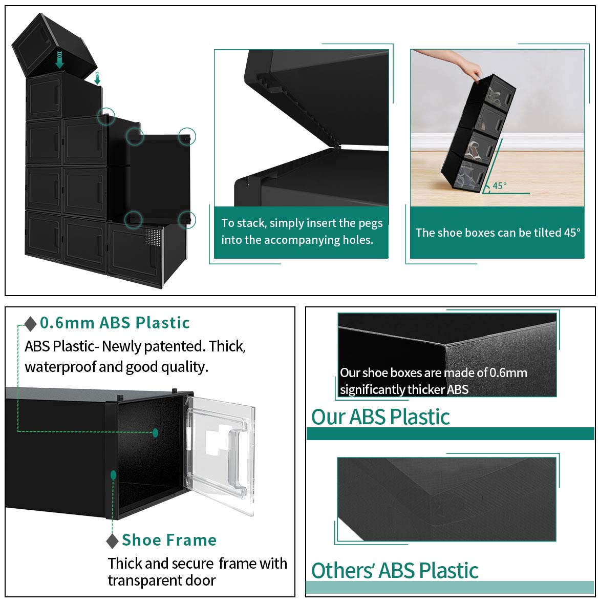 clear shoe box storage features