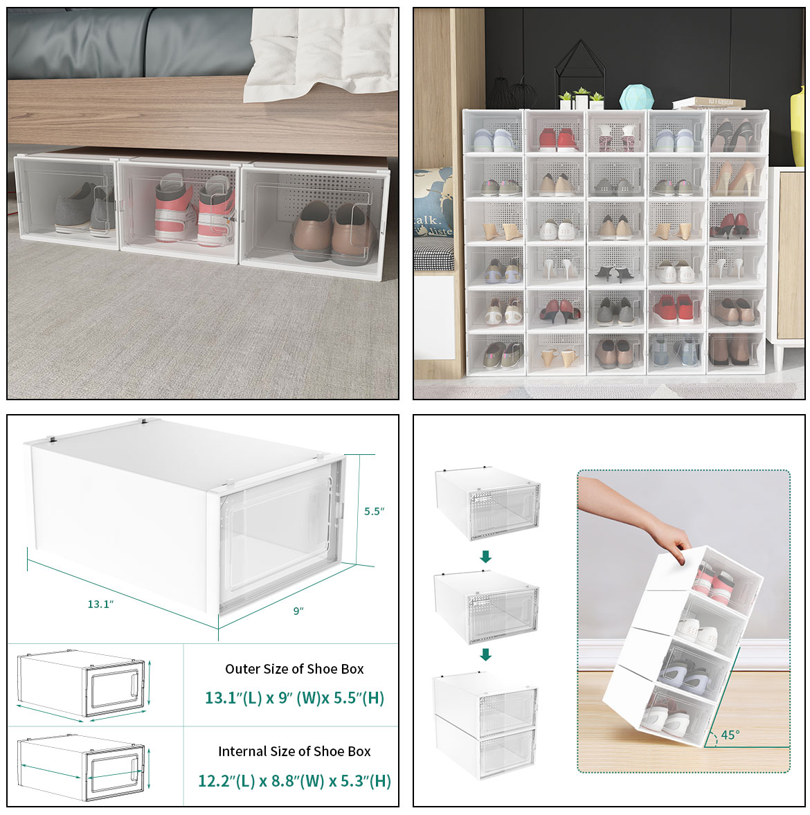 Use and  size of clear shoe boxes