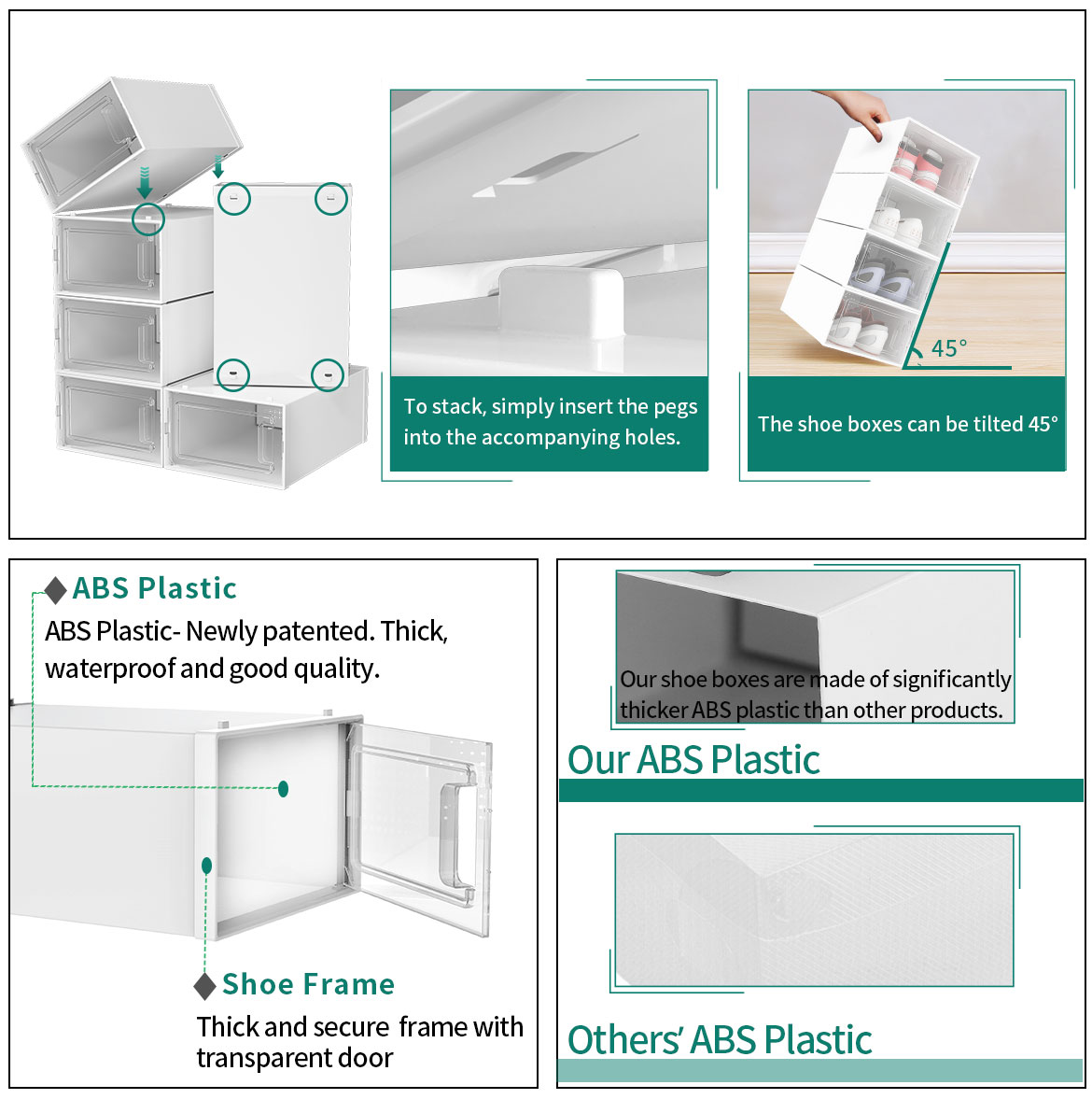Clear shoe boxes features