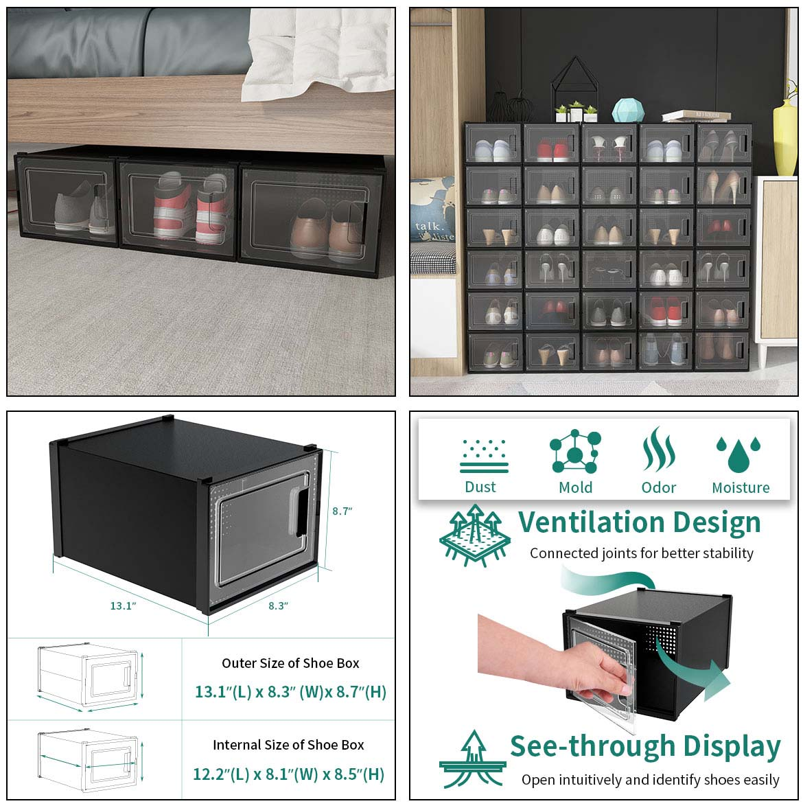 clear stackable shoe boxes for bedroom and clear stackable shoe boxes size