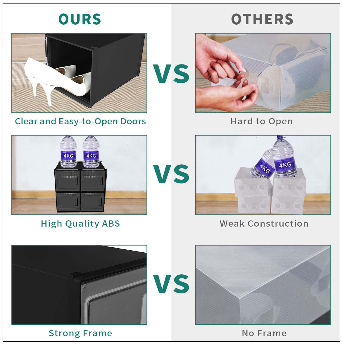 comparison with other brand's clear stackable shoe boxes