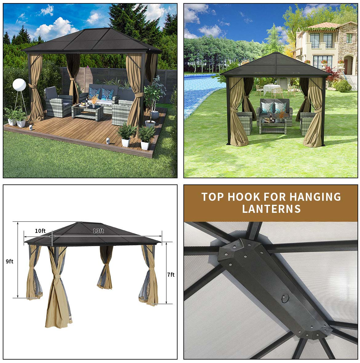 use and size of permanent patio gazebo