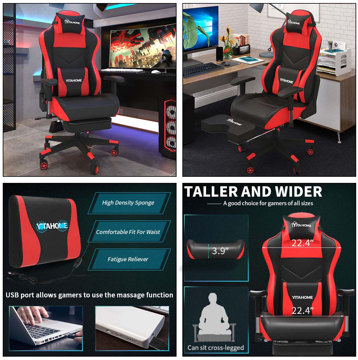 massage gaming chair with footrest sizes and details