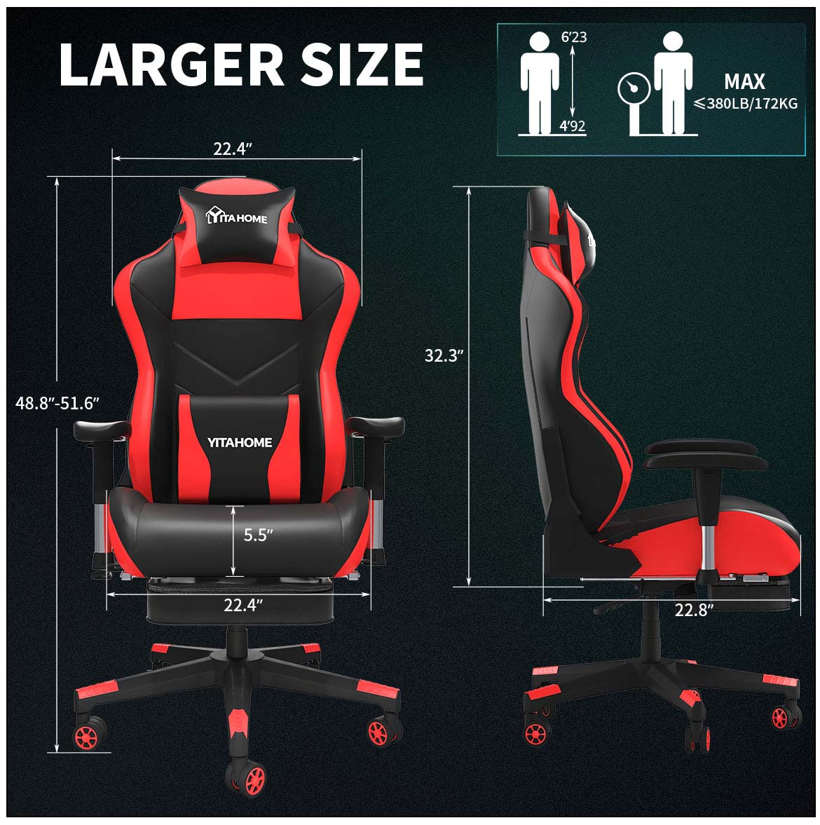 massage gaming chair with footrest with larger sizes
