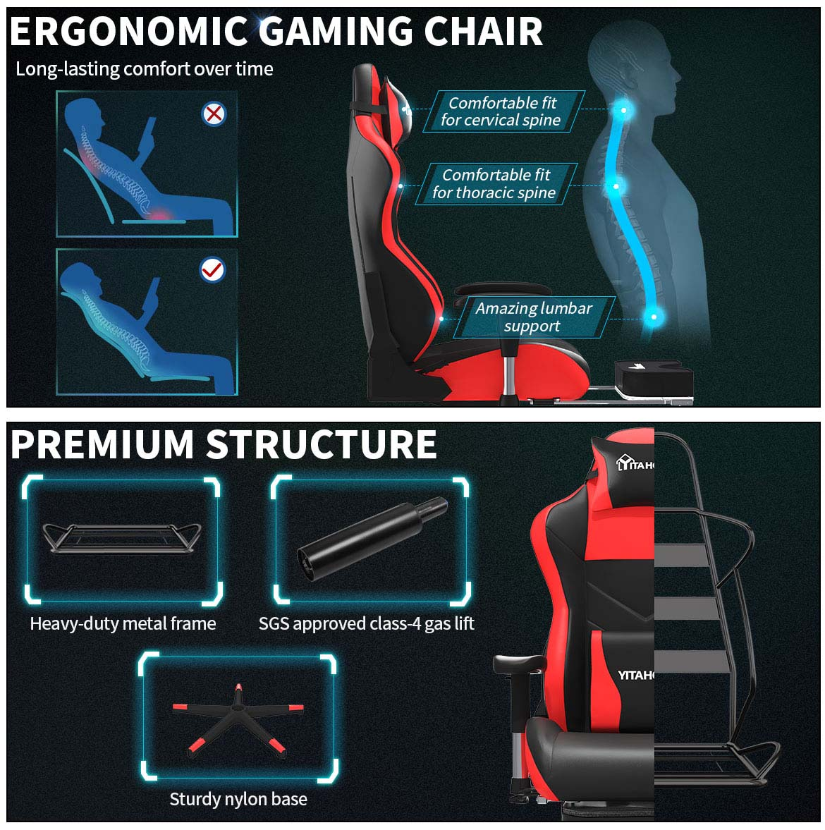 massage gaming chair with footrest structure