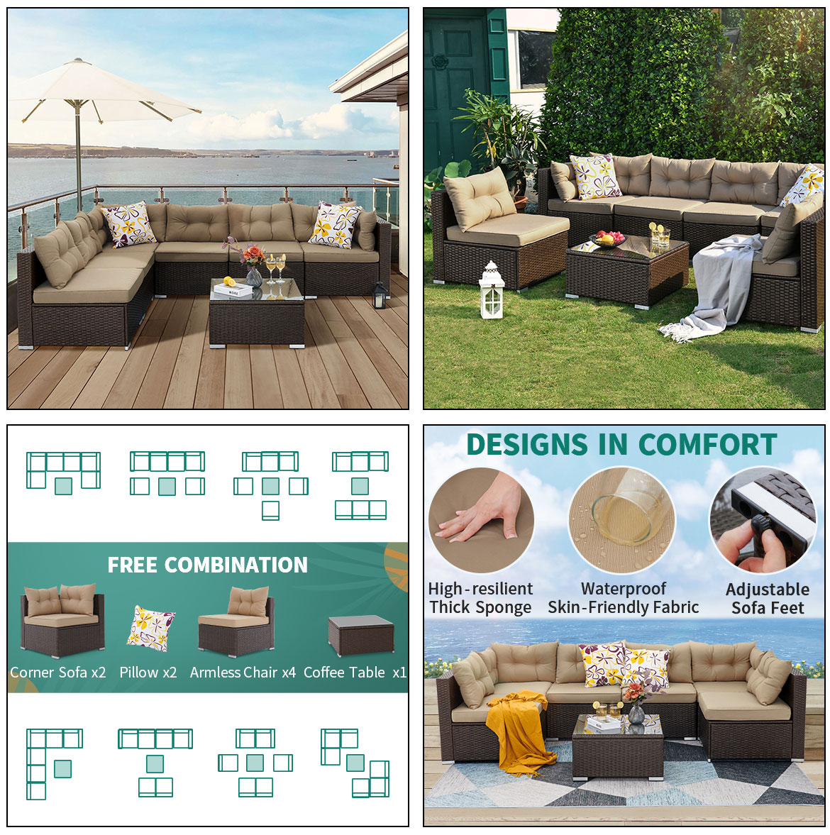 new design outdoor furniture sets with free combination