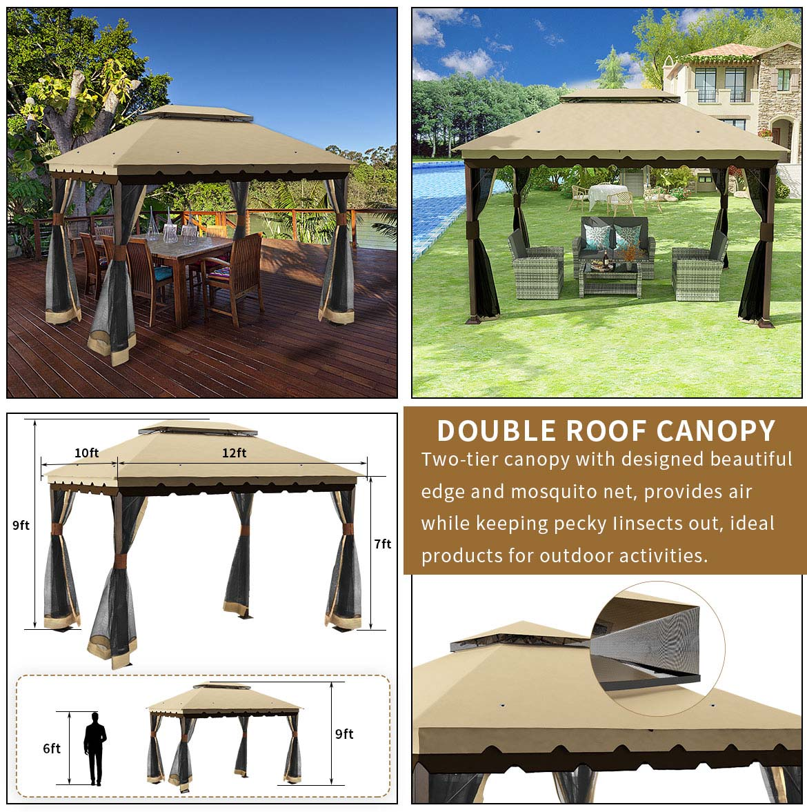 use and size of outdoor gazebo 10x12