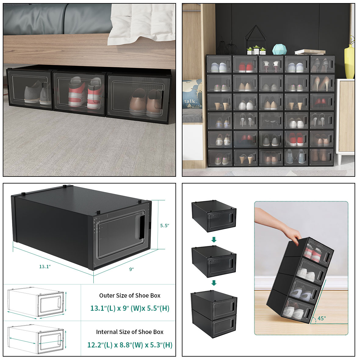 use and size of plastic shoe box containers