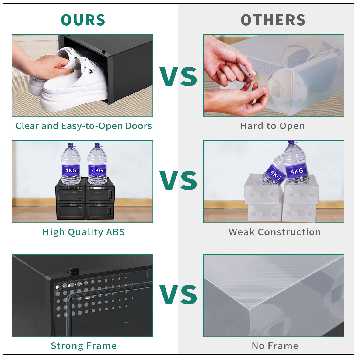 Different plastic shoe box containers comparison