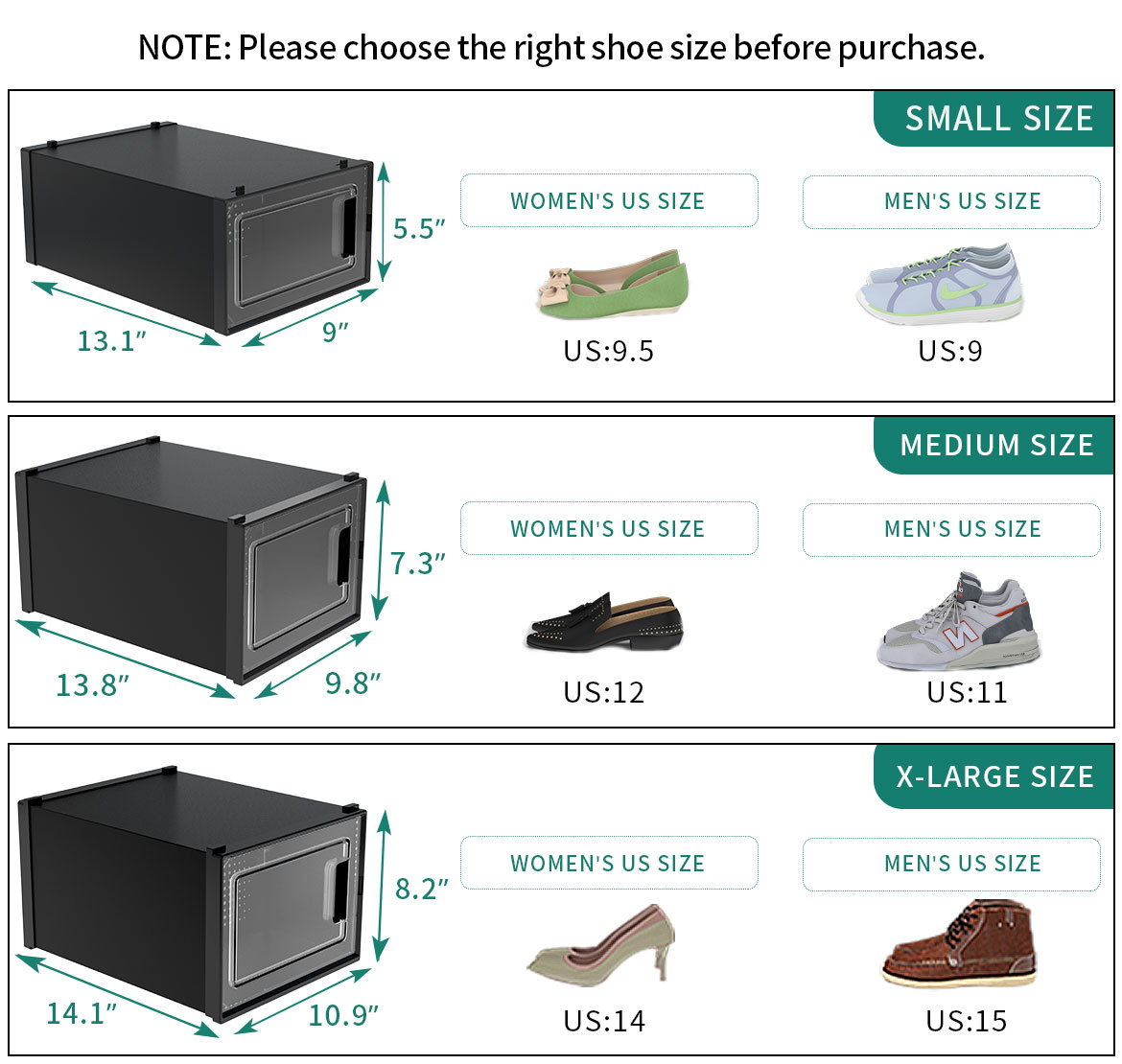 Plastic shoe box containers size