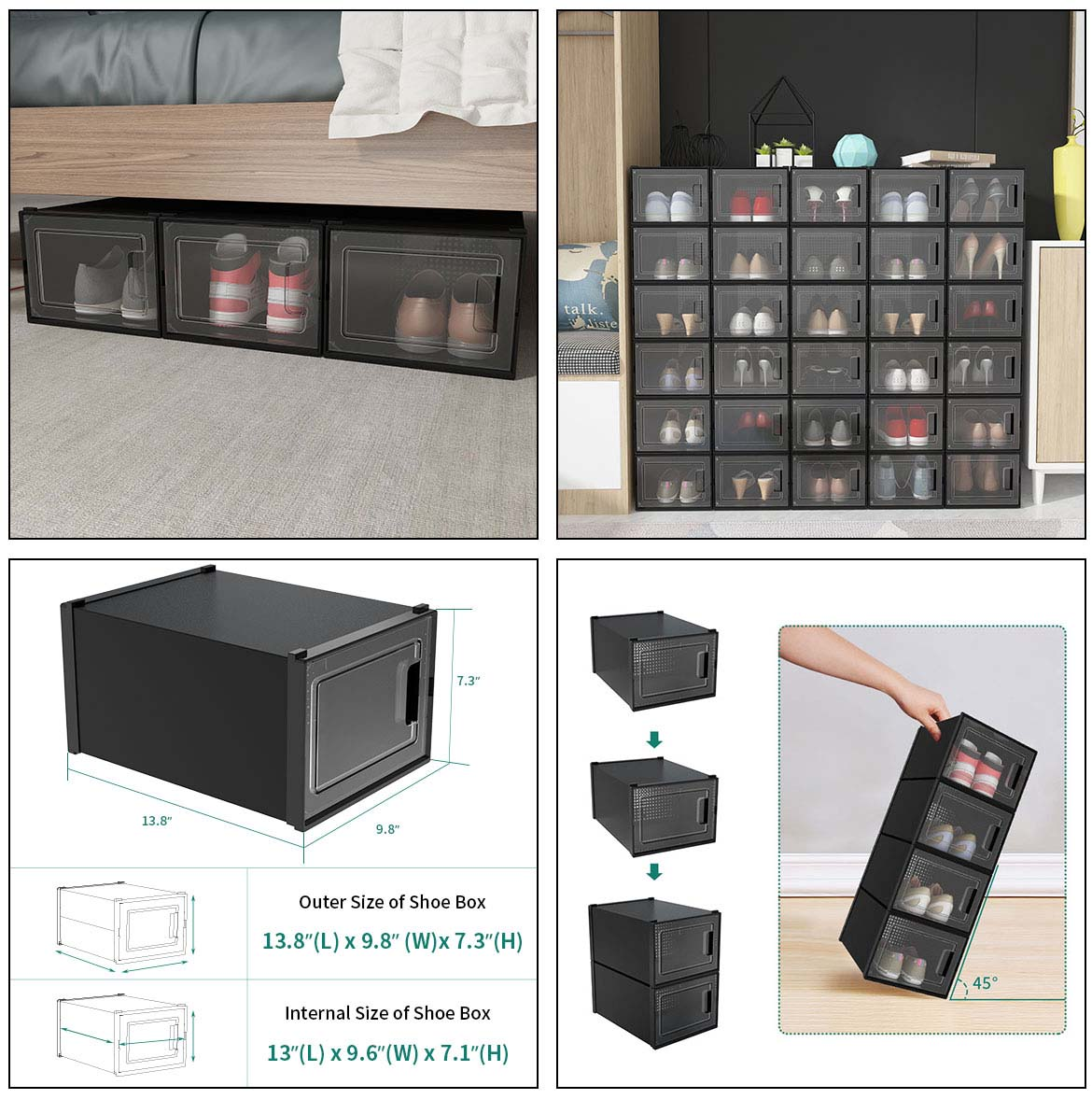 use and size of plastic shoe boxes
