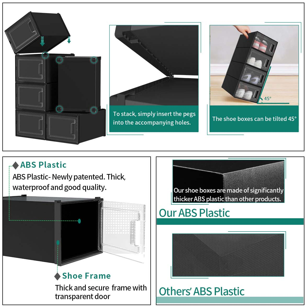 clear stackable shoe boxes features