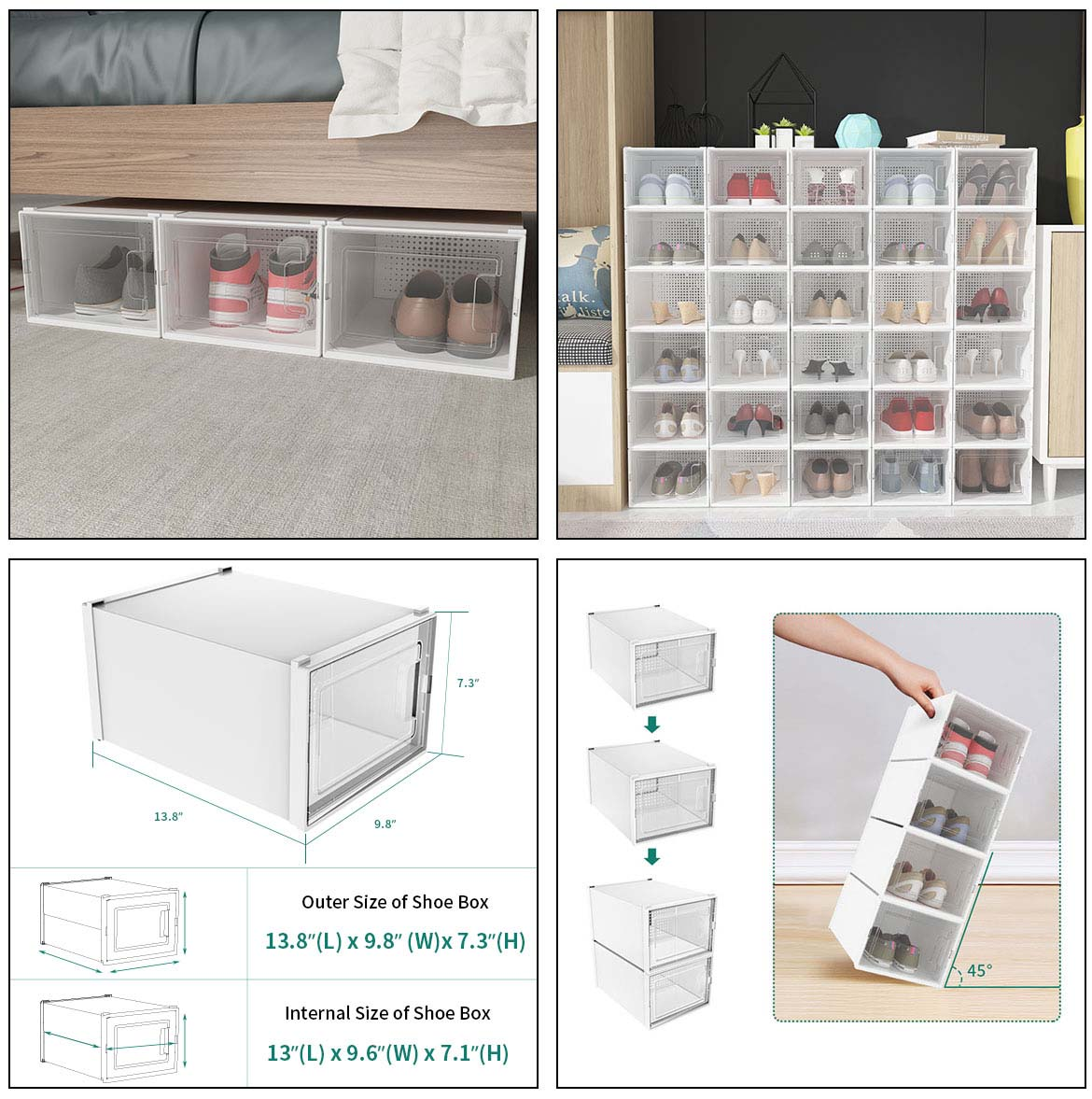 use and size of plastic shoe storage boxes