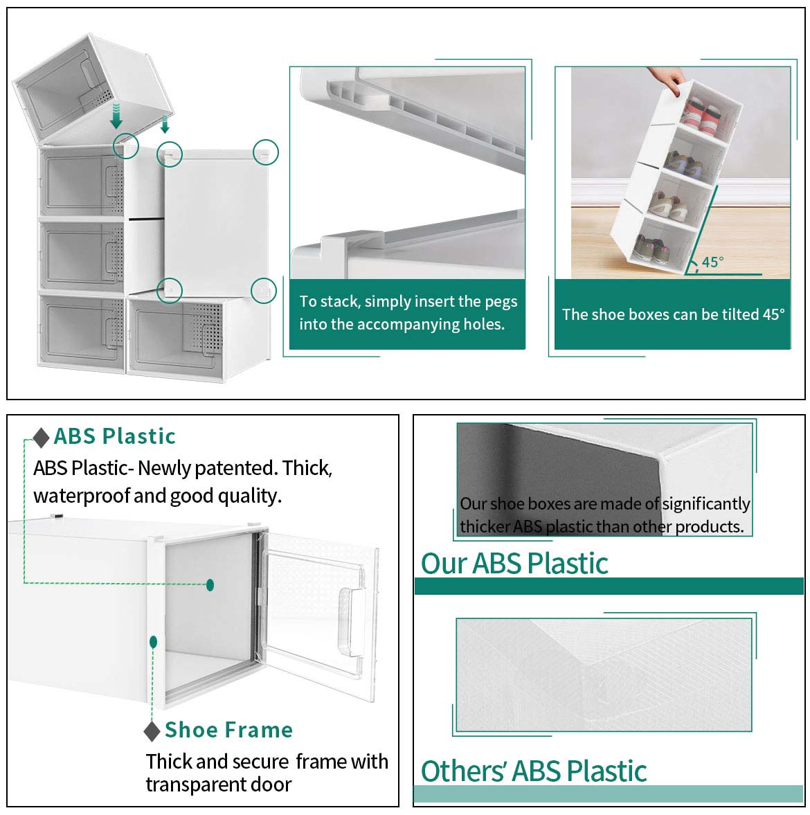 clear shoe storage boxes features