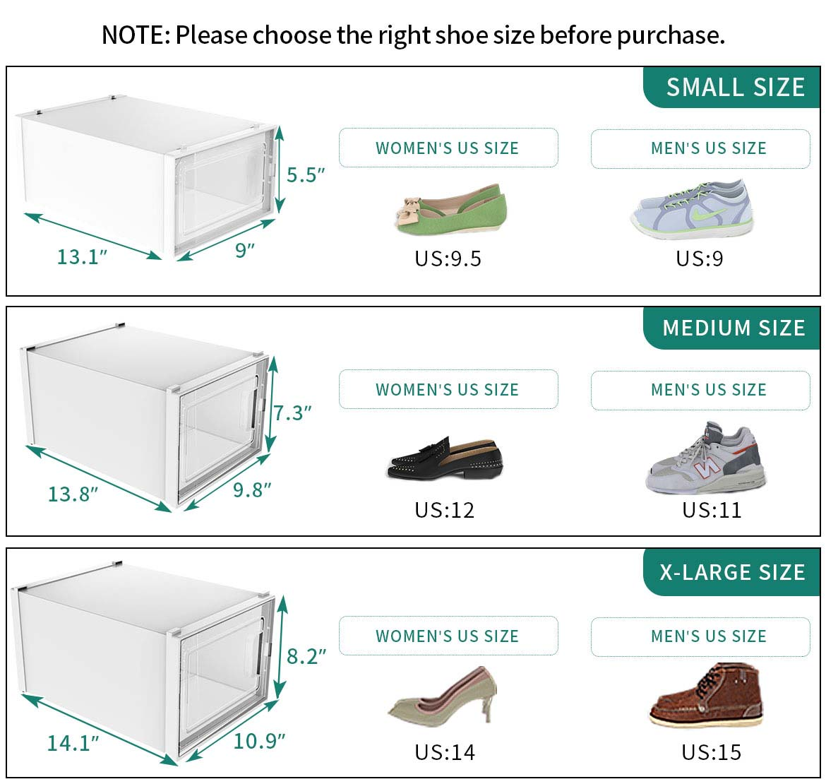 plastic shoe storage boxes size
