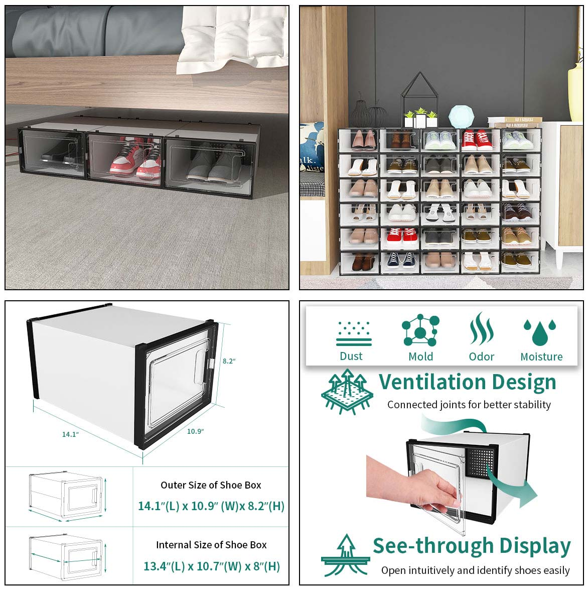 use and size of shoe boxes for storage
