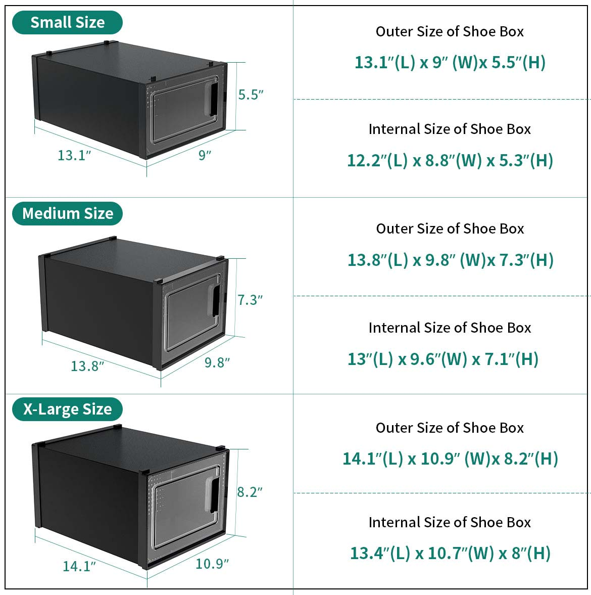 shoe boxes for storage size