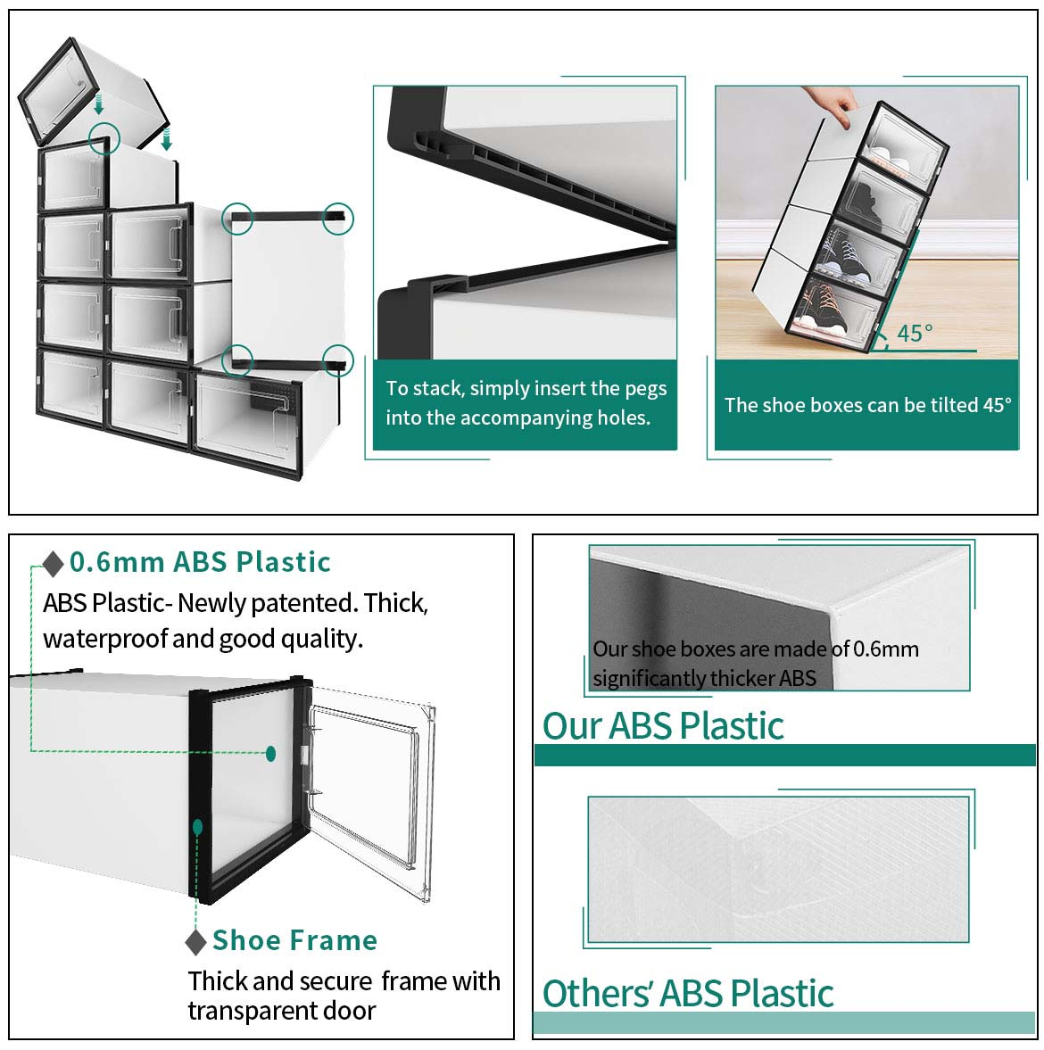 shoe boxes for storage features