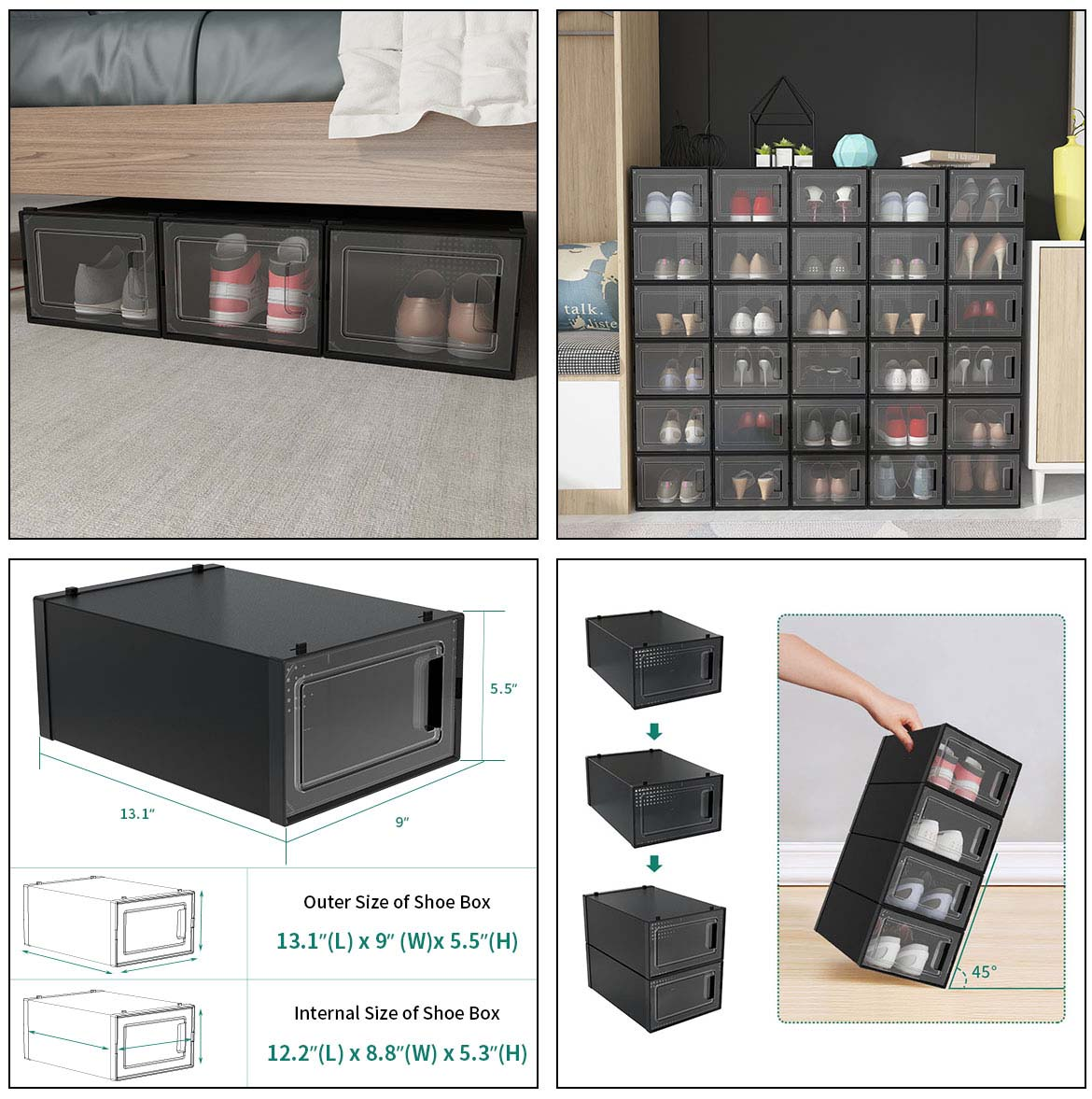 use and size of shoe storage boxes