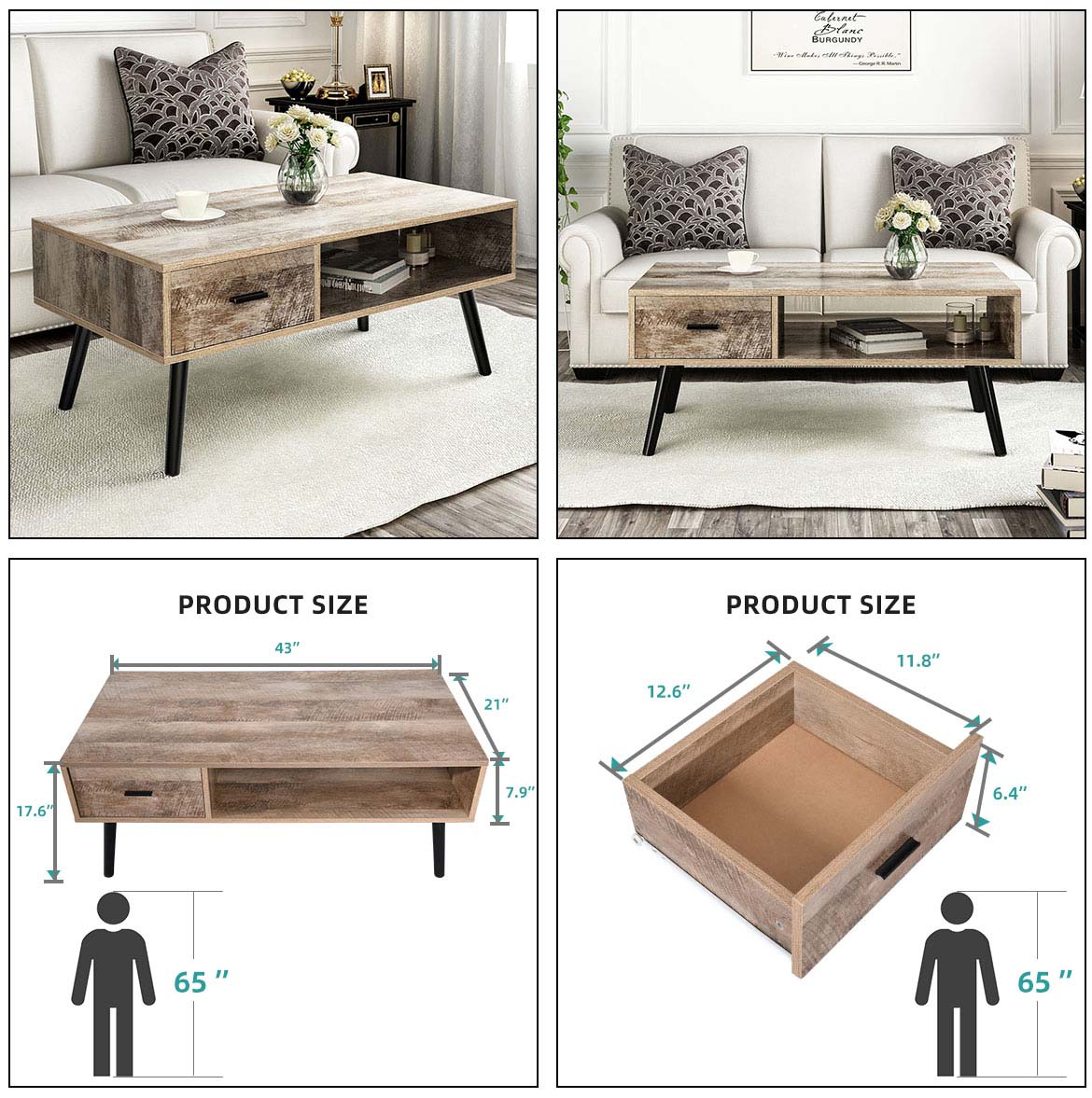 use and size of storage coffee table