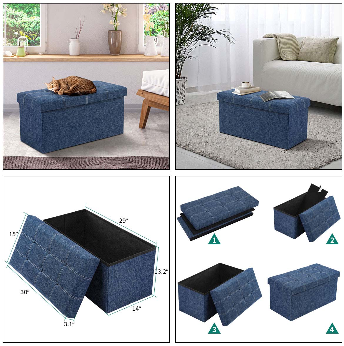 sizes and instruction of storage ottoman bench