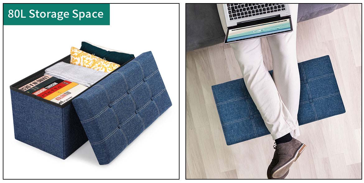 storage ottoman bench with 80L Large space