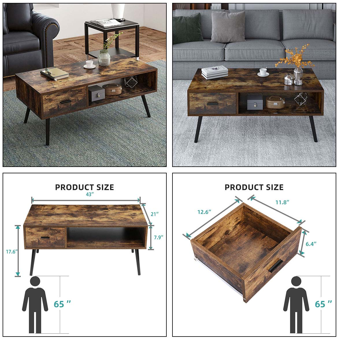 use and size of wood coffee table