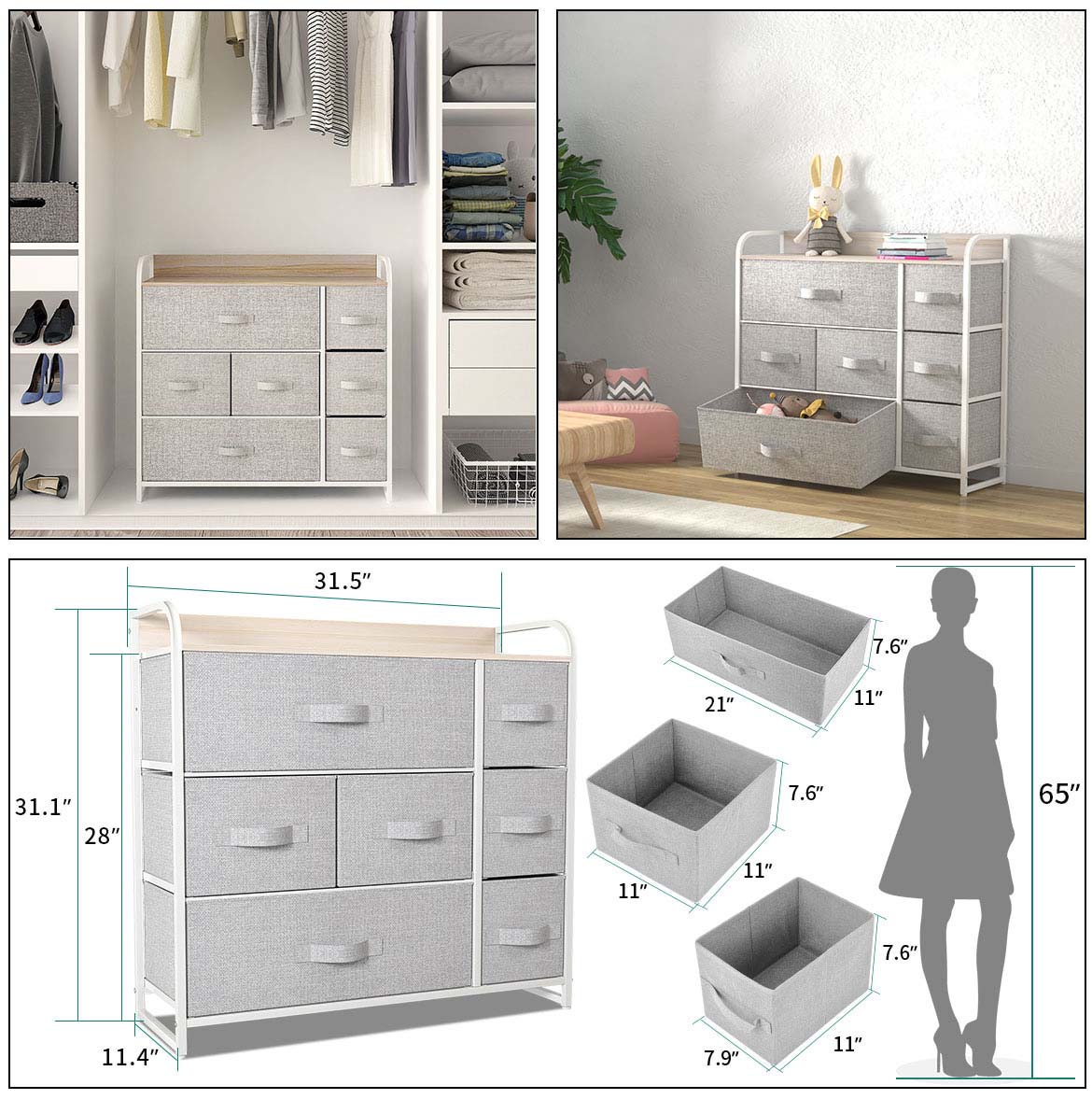 7 drawer chest detail size