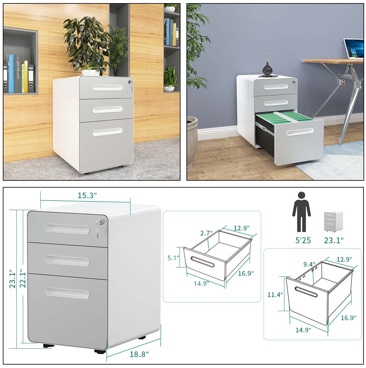 filing cabinet size