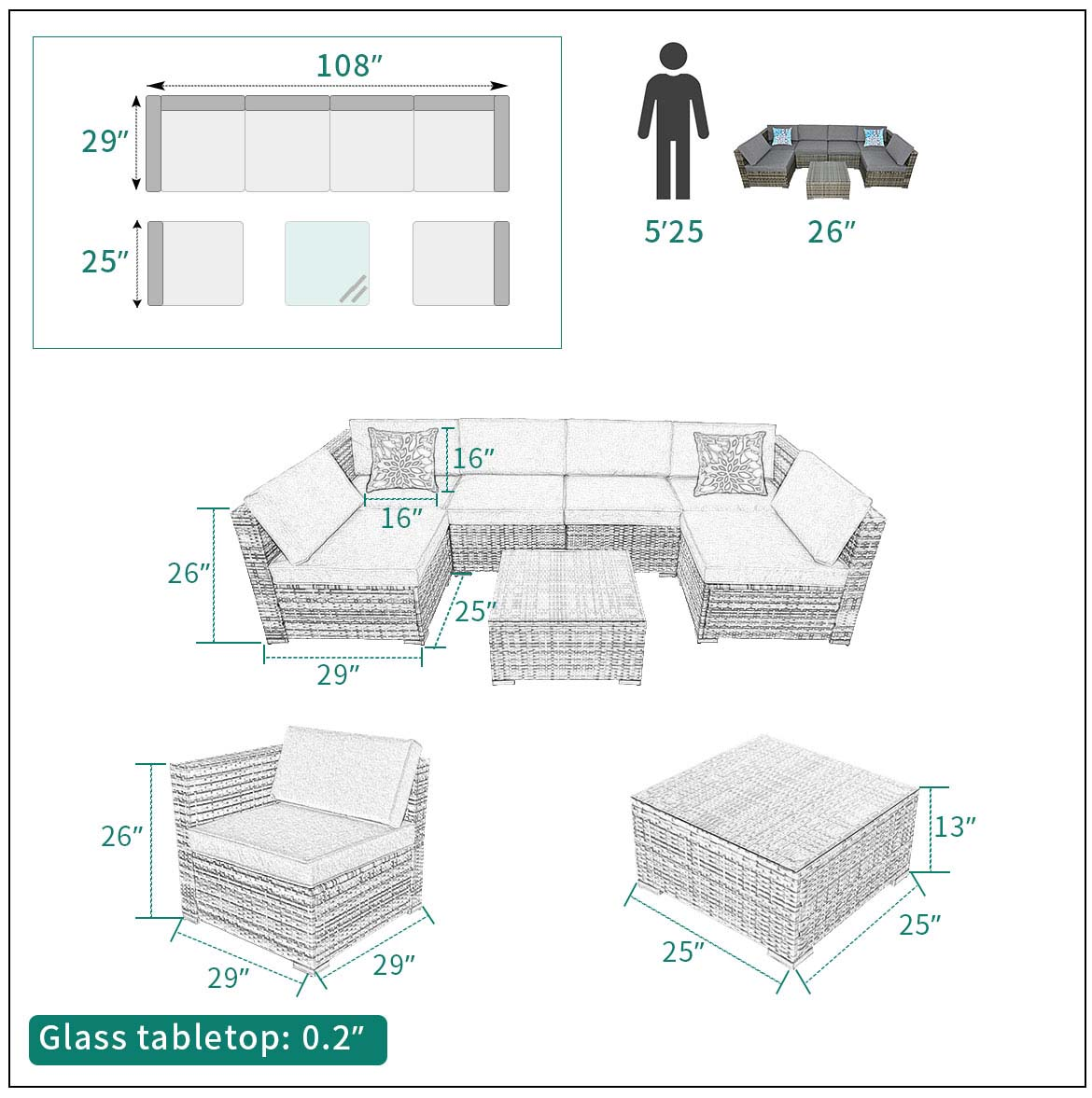 modern outdoor sectional size