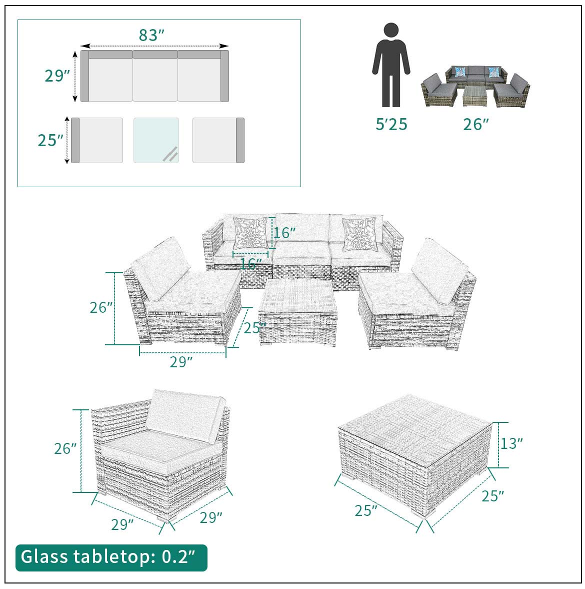 outdoor sectional furniture size