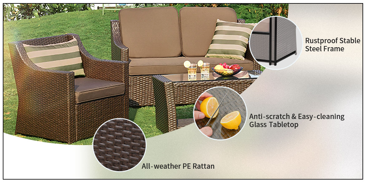 outdoor sofa set detail feature