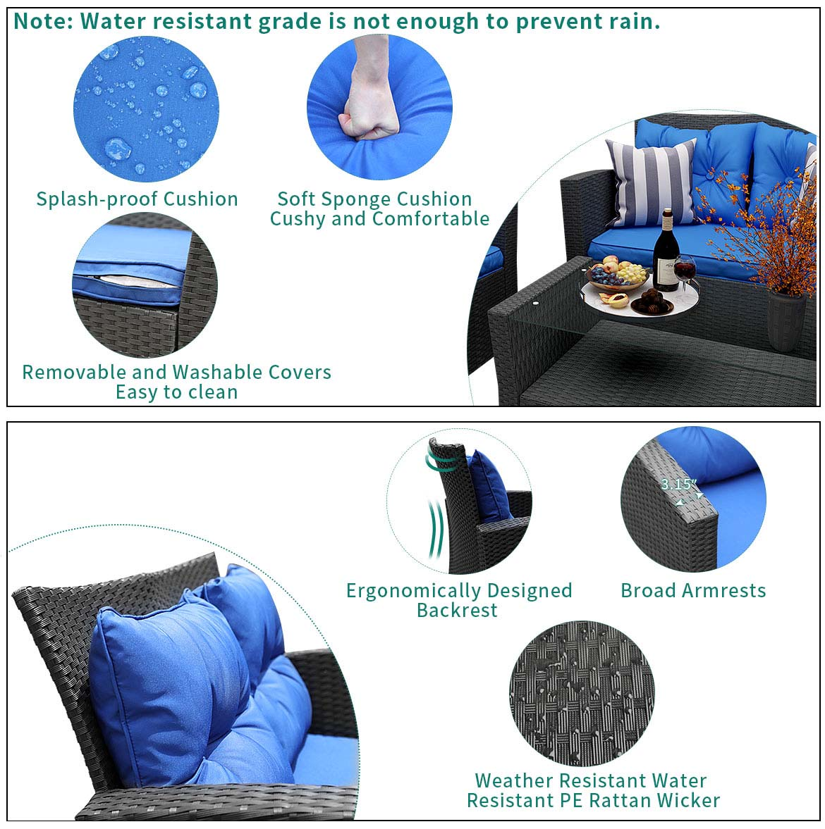 outdoor sofa sets detail feature