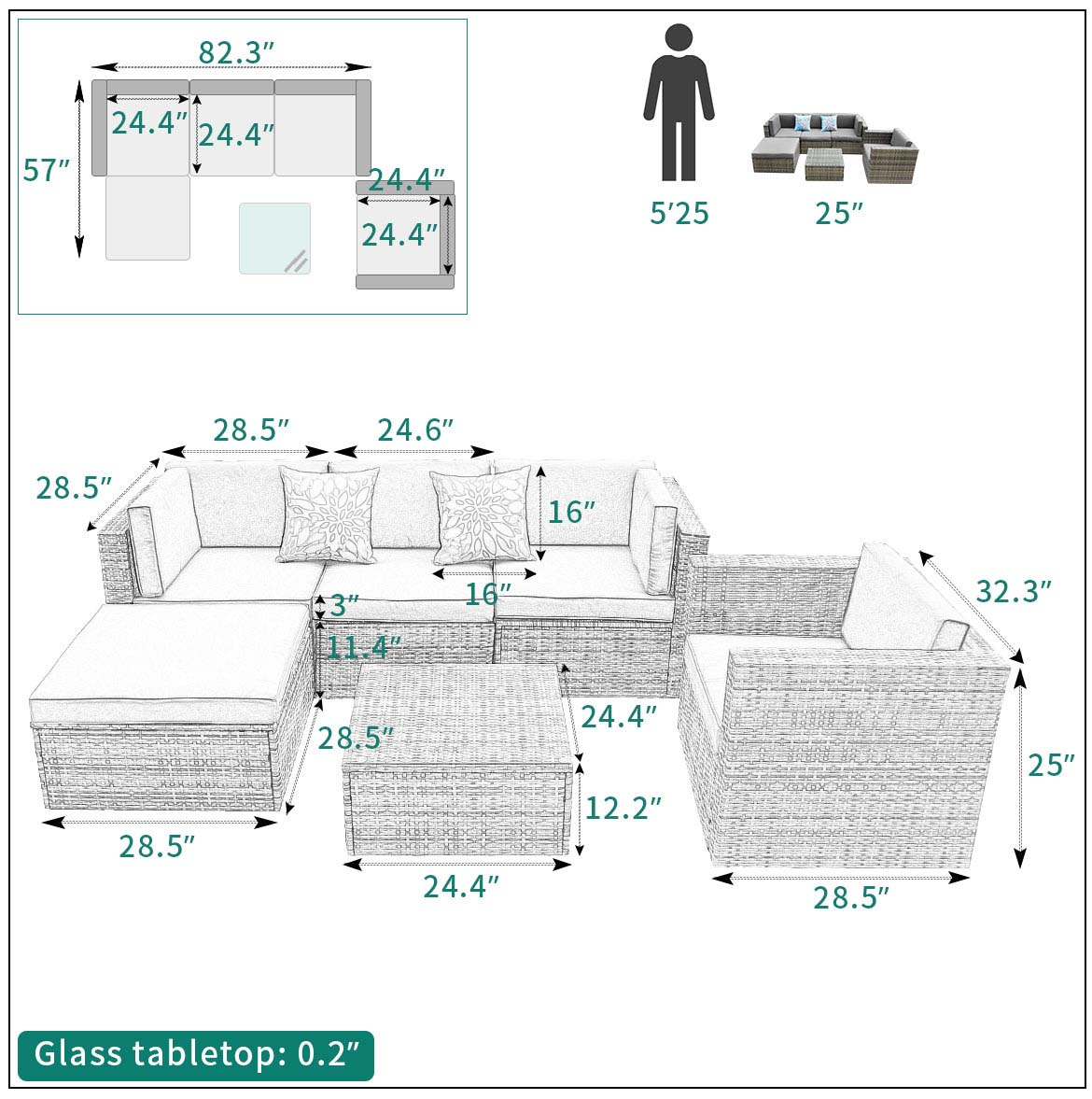 outdoor wicker sectional size