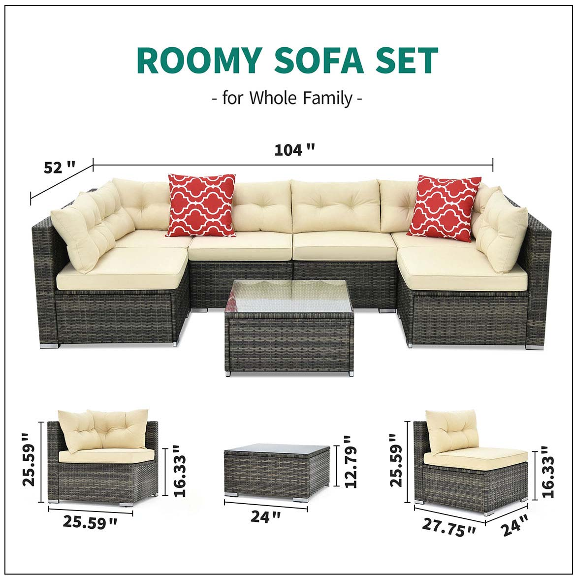 outdoor sectional detail size