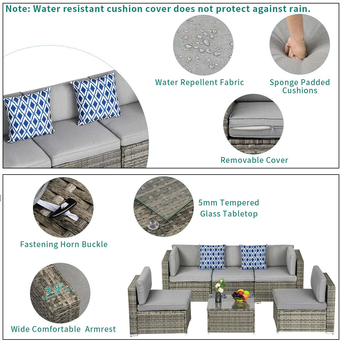 outdoor sectional furniture detail feature