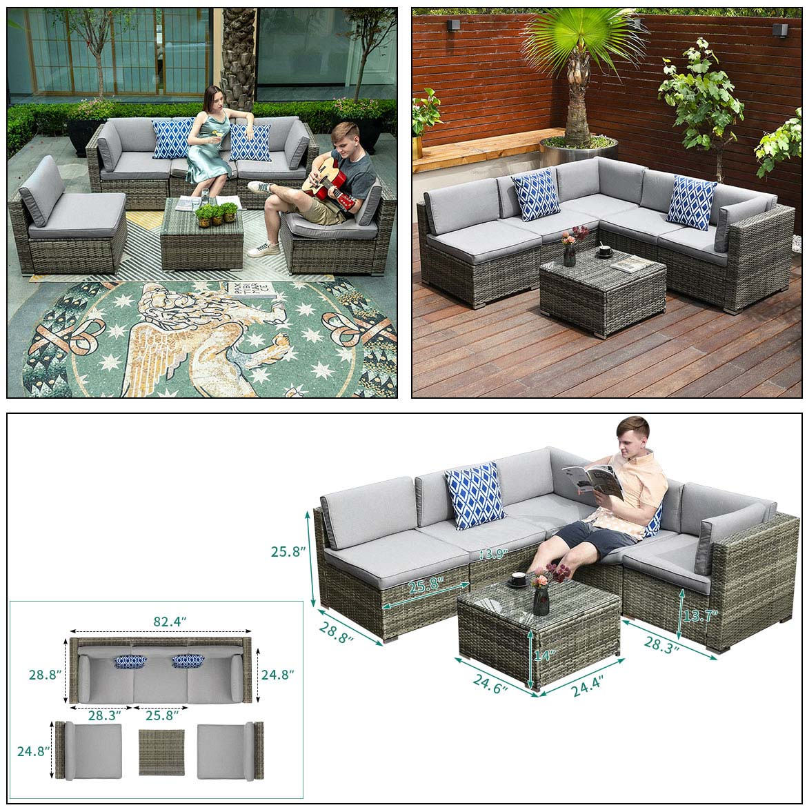 outdoor sectional furniture detail size
