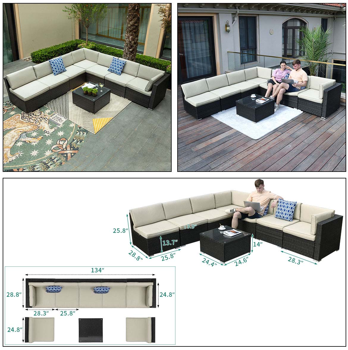 patio sectional detail size