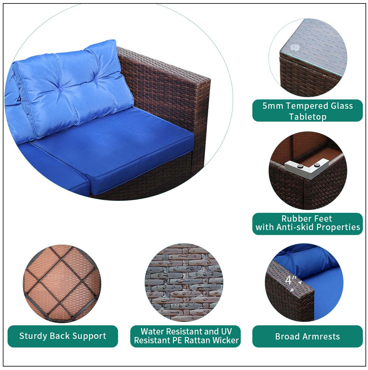 rattan outdoor sofa detail feature