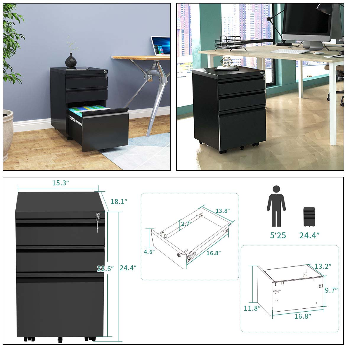 steel file cabinets detail size